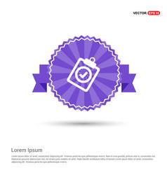 Check list icon - purple ribbon banner vector