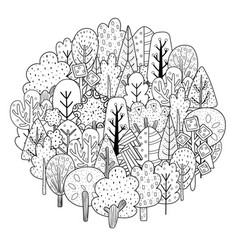 Circle shape coloring page with sea animals black vector