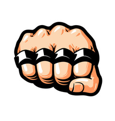 Clenched fist brass knuckles gangster thug vector