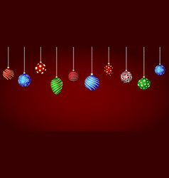 color christmas balls hanging ornaments vector image