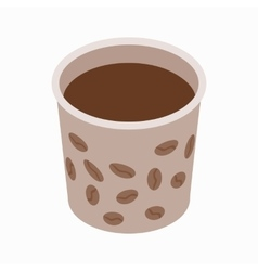 Cup of coffee icon isometric 3d style vector image