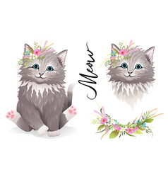 Cute kitty pussy cat or kitten with flowers design vector