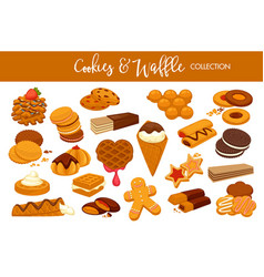 Delicious cookies and waffles collection vector