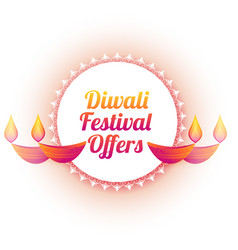 Diwali festival offer colorful diya background vector