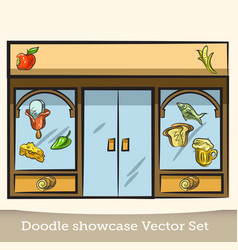 Doodle showcase food set vector