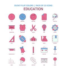 Education icon dusky flat color - vintage 25 icon vector