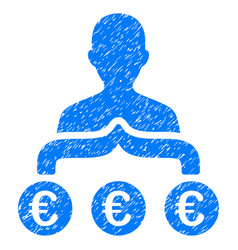Euro capitalist grunge icon vector