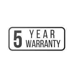 Five year warranty stamp or sign isolated on vector
