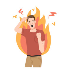 Furious screaming guy crazy person fire flame vector