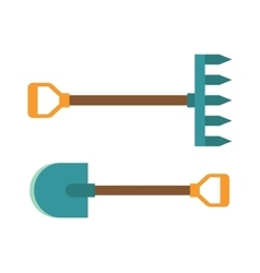 gardening shovel and rake groundworks tools vector image