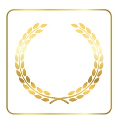 Gold laurel wreath white vector image