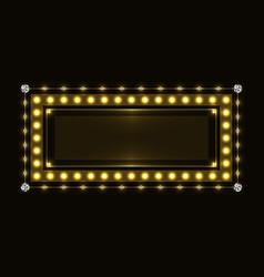 Gold sparkling neon frame vector