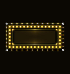 gold sparkling neon frame vector image