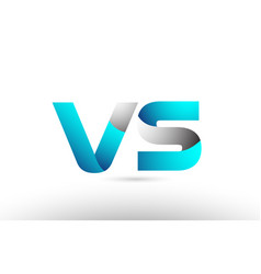 Grey blue alphabet letter vs v s logo 3d design vector