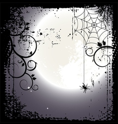 Halloween background - a spider on a cobweb vector