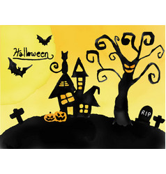 Halloween card watercolour silhouette haunted vector