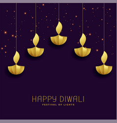 Happy diwali festival greeting with golden diya vector