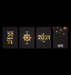 happy new 2021 year elegant poster template set vector image