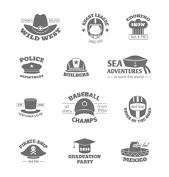 Hat professions stamps vector image