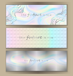 Holographic web banner set vector