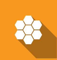 honeycomb sign icon with long shadow honey cells vector image