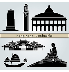 Hong Kong landmarks and monuments vector