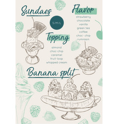Ice cream menu place mat food restaurant brochure vector