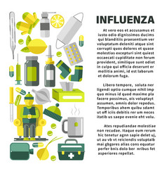 Influenza with cold and flu treatment remedies vector