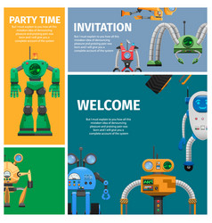 invitation to unusual robot party vector image