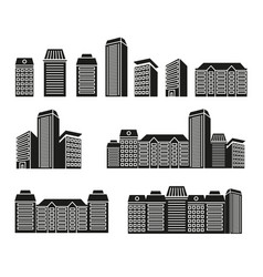 isolated black and white color skyscrapers and low vector image