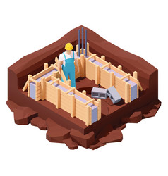 Isometric house foundation works vector