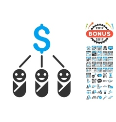 Kid Expenses Icon With 2017 Year Bonus Pictograms vector