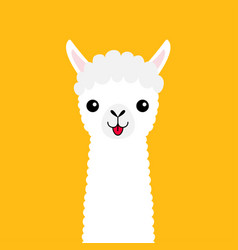Llama alpaca animal face neck cute cartoon funny vector