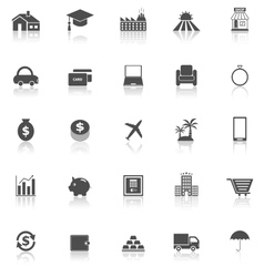 Loan icons with reflect on white background vector