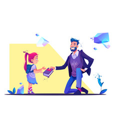 man stand on one knee giving book to little girl vector image