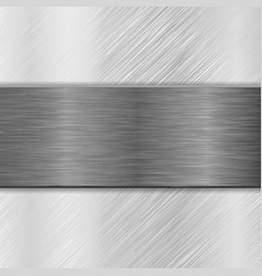 metal background with iron brushed plate vector image