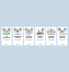 Mobile app onboarding screens education and job vector