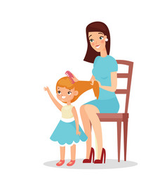 mother with daughter vector image