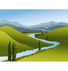 Mountain landscape with river vector image
