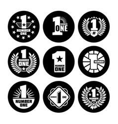 number one labels on black icons vector image