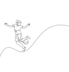 One single line drawing young happy woman perform vector