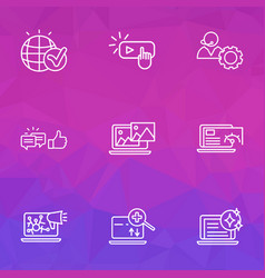 Optimization icons line style set with photo vector