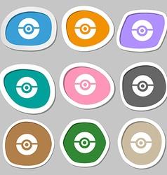 pokeball icon symbols Multicolored paper stickers vector image