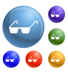 polycarbonate glasses icons set vector image