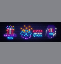 Prizes collection neon sign gift neon sign vector