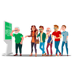 problem of cash withdrawal big line of people to vector image