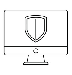 protected computer icon outline style vector image