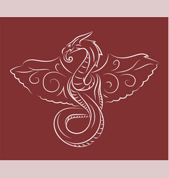 Red hand drawn fantasy art with flying snake vector