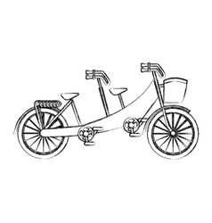 Retro bicycle with basket vector