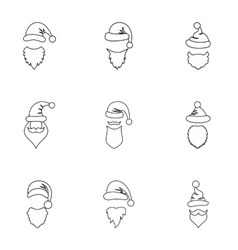 Santa Claus hat icons set outline style vector image